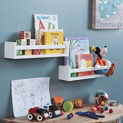 Wallniture Utah Set of 2 Nursery Room Wood Floating Wall Shelves White