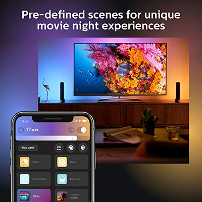 Philips Hue Play Black & Color Smart Light, 2 Pack Base kit, Hub Required/Power Supply Included (Works with Amazon Alexa, Apple Homekit & Google Home)