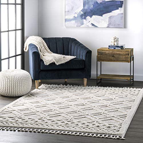 nuLOOM Ansley Shaggy Lattice Tassel , 3' x 5', Beige