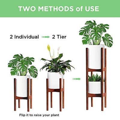 2 Pack Indoor Plant Stands, 2 Tier Tall Plant Stand 30 inches, Mid Century Bamboo Plant Stand, Adjustable Width 8-12 inches, Fits Pot Size of 8 9 10 11 12 inches, Pot & Plant Not Included, Brown