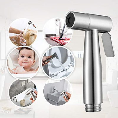 Handheld Bidet Sprayer for Toilet-Adjustable Water Pressure Control with Bidet Hose for Feminine Wash, Stainless Steel Brushed Nickel Cloth Diaper Bidet Toilet Sprayer for Baby Wash