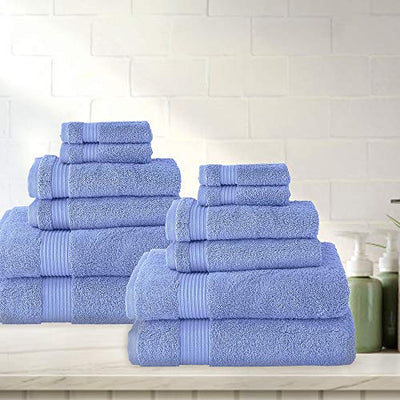 Classic Turkish Towels 12 Pieces Towel Set - Soft and Plush Luxury Hotel and Spa Towels Made with 100% Turkish Cotton (Serenity Blue, 12 Piece Set)