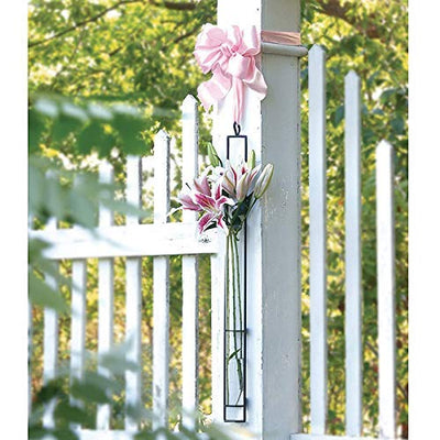 Hanging Glass Planter Water Iron Art Hydroponic Vase Transparent Test Tube Flower Hanging Bottle Home Decoration (L)