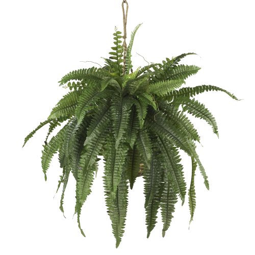 Nearly Natural 6774 22in. Large Boston Fern Hanging Basket,Green