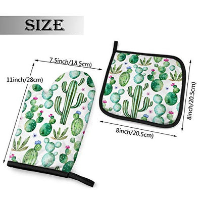 VunKo Watercolor Cactus Plants Oven Mitts and Pot Holders Sets Heat Resistant Oven Gloves with Non-Slip Surface for Safe BBQ Cooking Baking Grilling Set of 2