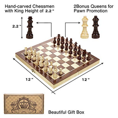 "Amerous 12"" x 12"" Magnetic Wooden Chess Set for Adults and Kids, 2 Bonus Extra Queens, Folding Board with Storage Slots, Handmade Chess Pieces, Portable Travel Chess Board Game Sets, Gift Packed Box"