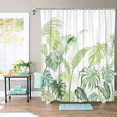"Lifeel Jungle Shower Curtain, Tropical Shower Curtain Palm Banana Monstera Leaf Bathroom Shower Curtain Set Heavyweight with 12 Hooks, Green White 72"" x 72"""