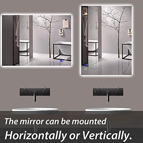 "Keonjinn 40""x 24"" Backlit Bathroom Mirror Wall Mounted Anti-Fog Makeup Mirror with LED Light Over Vanity (Horizontal/Vertical)"