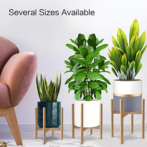"Honest Mid Century Modern Wood Indoor Plant Stand,(Plant and Pot NOT Included) Rustic Wood Flower Pot Holder, (Adjustable Width:8""-10"",Natural)"