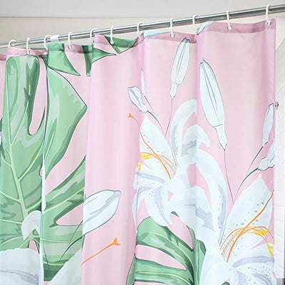 AooHome Lily Flora Pattern Shower Curtain, Palm Leaves Decor Fabric Bath Curtain with Hooks, Heavy Duty, Weighted Hem, Waterproof, Pink, 70W x 72L Inch