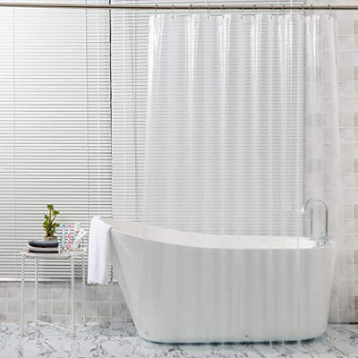 "AmazerBath Plastic Shower Curtain, 72"" W x 72"" H EVA 8G Shower Curtain with Heavy Duty Clear Stones and 12 Grommet Holes Thick Bathroom Plastic Shower Curtains-Clear"