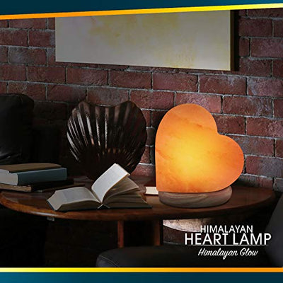 Elvissmart ES-944AC Himalayan Pink Heart Shaped Hand Crafted, Night Light with Wood Base, USB Salt Lamp Perfect Gift