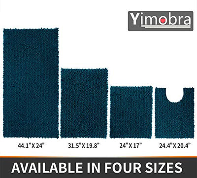 Yimobra Original Luxury Chenille Bath Mat, 31.5 X 19.8 Inches, Soft Shaggy and Comfortable, Large Size, Super Absorbent and Thick, Non-Slip, Machine Washable, Perfect for Bathroom, Peacock Blue