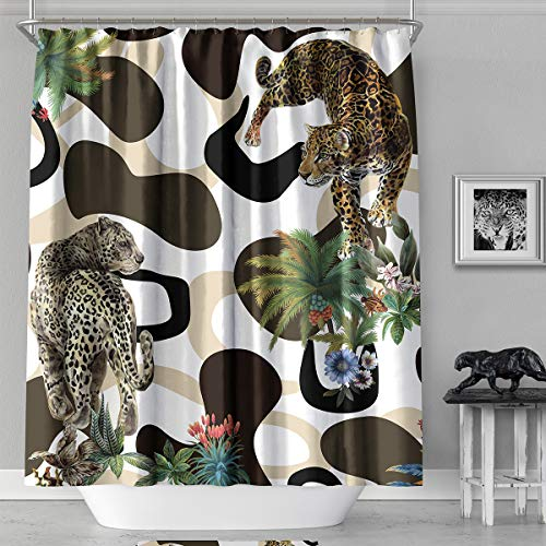 MACOFE Fabric Shower Curtain,71x71inch,Leopard Print Shower Curtain Waterproof, Machine Washable,Hooks Included,Original Design Hand Drawing(Leopard)