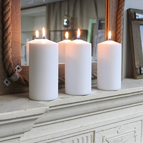 Stonebriar Tall 3x6 Inch Unscented Pillar Candles, 3x6, White