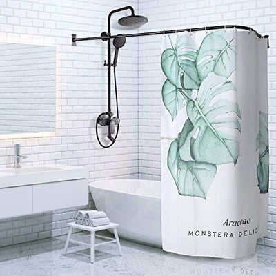 "PrettyHome L Shapaed Bathroom Bathtub Corner Shower Curtain Rod Large Space 28""x68"",Black Finished"