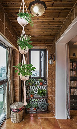 "AOMGD 3 Tier 80"" Macrame Plant Hanger Indoor Outdoor Hanging Plant Holder Hanging Planter Stand Flower Pots for Decorations - Cotton Rope,4 Legs"