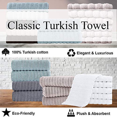 Classic Turkish Towels Luxury Ribbed Bath Sheets - Soft Thick Jacquard Woven 3 Piece Bath Set Made with 100% Turkish Cotton (40X65 Bath Sheets, White)