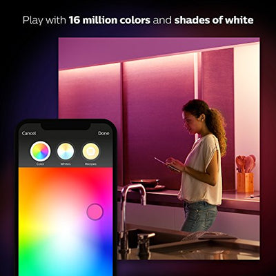 Philips Hue White and Color Ambiance LightStrip Plus Dimmable LED Smart Light (Requires Hue Hub, Works with Alexa, HomeKit & Google Assistant)