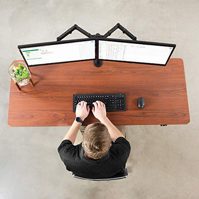 VIVO Electric 60 x 24 inch Stand Up Desk, Dark Walnut Table Top, Black Frame, Height Adjustable Standing Workstation with Simple 2 Button Controller (DESK-KIT-B06D)
