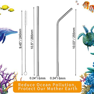 "VEHHE Metal Straws Stainless Steel Straws Drinking Straws Reusable - 10.5"" Ultra Long 4 + 1 - W/Cleaning Brush for 20/30 Oz for Yeti RTIC SIC Ozark Trail Tumblers (2 Straight