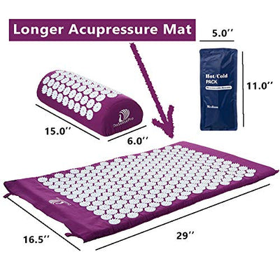 Extra Long Acupressure Mat and Pillow Massage Set - by DoSensePro + Gel Pack. Acupuncture Mattress for Neck and Back Pain. Relieve Sciatic, Headaches, Aches at Pressure Points. Natural Sleeping Aid