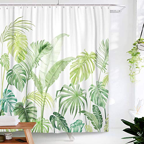 Lifeel Jungle Shower Curtain, Tropical Shower Curtain Palm Banana Monstera Leaf Bathroom Shower Curtain Set Heavyweight with 12 Hooks, Green White 72