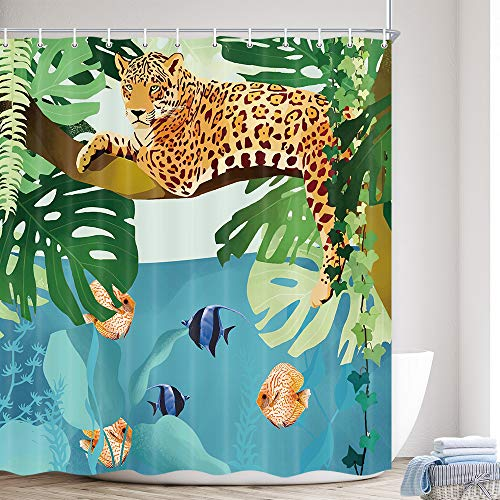 Cheetah Shower Curtain Wild Animal Leopard On Tree Branch Blue Ocean Decor Green Leaf Tropical African Safari Theme Bathroom Fabric Shower Curtain Set with Hooks 69x70 Inch
