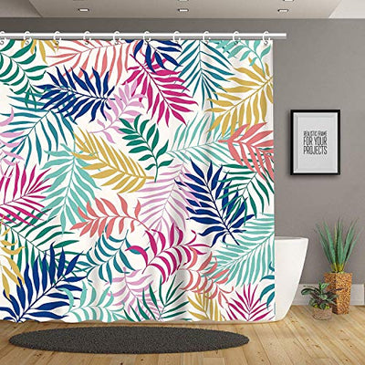 Stacy Fay Shower Curtains Hand Drawn Jungle Leaves Seamless Pattern Fabric Watercolor Decorative Bath Curtain Modern Bathroom Accessories, Machine Washable, 72 x 72 Inch
