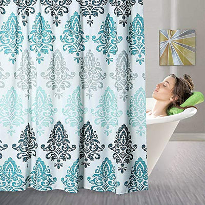 Yougai Shower Curtain for Bathroom with 12 Hooks, Polyester Fabric Machine Washable Waterproof Shower Curtains 72 x 72 Inch (Light Blue Damask)