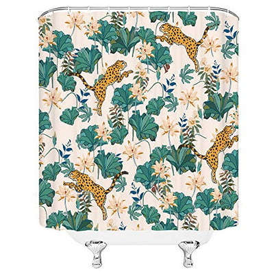 Dachengxing Asian Shower Curtain Wildlife Leaf Watercolor Decor Leopard Lotus Leaves Water Lily Pattern Artwork Print,Polyester Teal Golden Fabric Hooks Included 70x70 Inch