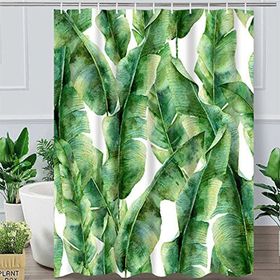 Banana Leaf Bathroom Shower Curtain Green Banana Palm Leaves Shower Curtains with 12 Hooks, Durable Bath Curtain Waterproof Bathroom Curtain