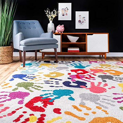 "nuLOOM Handprint Nursery Kids Area Rug, 6' 7"" x 9', Multi"