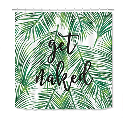 LB Green Tropical Coconut Palm Leaf Shower Curtain with Hooks,Black Font Get Naked Funny Bathroom Curtains 72x72 inch Waterproof Polyester Fabric