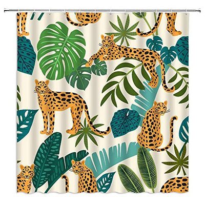 Xnichohe Leopard Leaf Shower Curtain Tropical Rainforest Jungle Plant Animal Green Palm Banana Leaves Polyester Cloth Fabric for Bathroom Curtains Decor Set with 12 pcs Hooks,70 x70 Inches