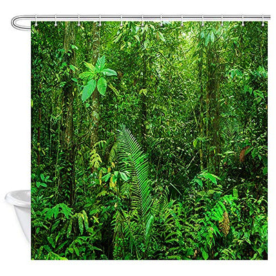 Green Forest Shower Curtain for Bathroom, Tropical Jungle Rainforest Landscape Nature Tree Exotic Plants Bath Curtain, 69X70 Inches Waterproof Fabric with 12 Hooks