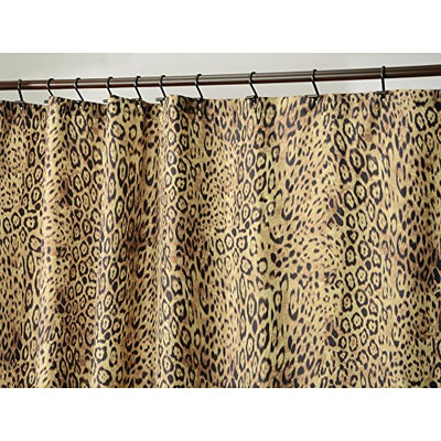 "iDesign Cheetah Print Fabric Bathroom Shower Curtain - 72"" x 72"", Brown"