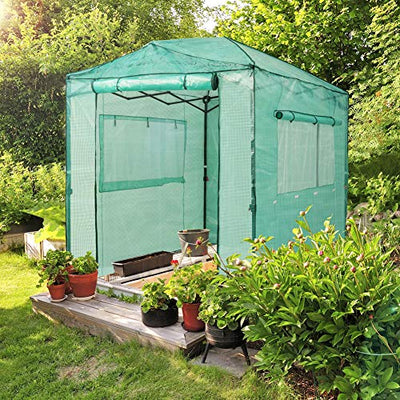 EAGLE PEAK 8'x6' Portable Walk-in Greenhouse Instant Pop-up Fast Setup Indoor Outdoor Plant Gardening Greenhouse Canopy, Front and Rear Roll-Up Zipper Entry Doors and 2 Large Roll-Up Side Windows