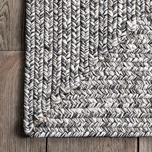 nuLOOM Lefebvre Braided Indoor/Outdoor Area Rug, 5' x 8', Salt and Pepper