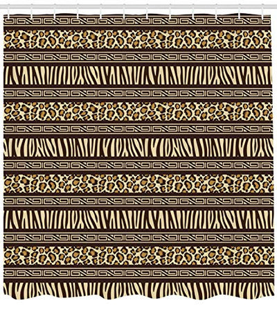 "Ambesonne Afirca Shower Curtain, Horizontal Stripes with Leopard Skin Pattern Indigenous Culture Inspiration, Cloth Fabric Bathroom Decor Set with Hooks, 70"" Long, Black Cream"