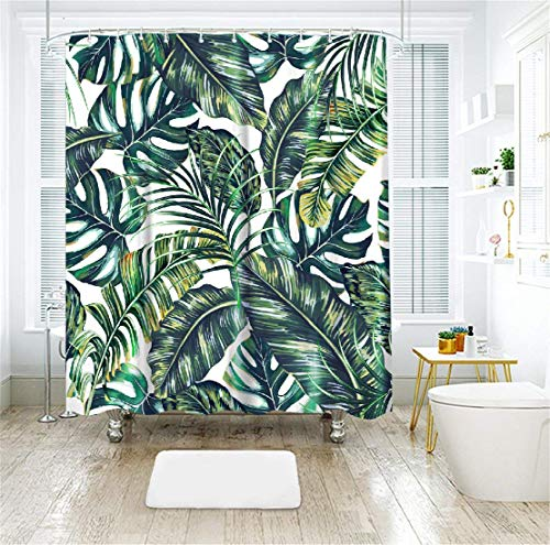 LIVILAN Tropical Leaf Shower Curtain, Plant Fabric Bathroom Curtain with Hooks Decorative Privacy Bath Curtains Machine Washable Polyester Green 72X84 Inches