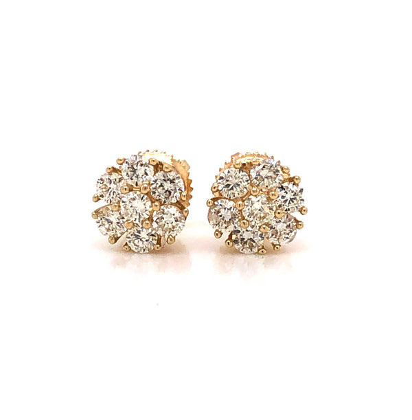 14K Circular Solid Yellow Gold Stud Earrings