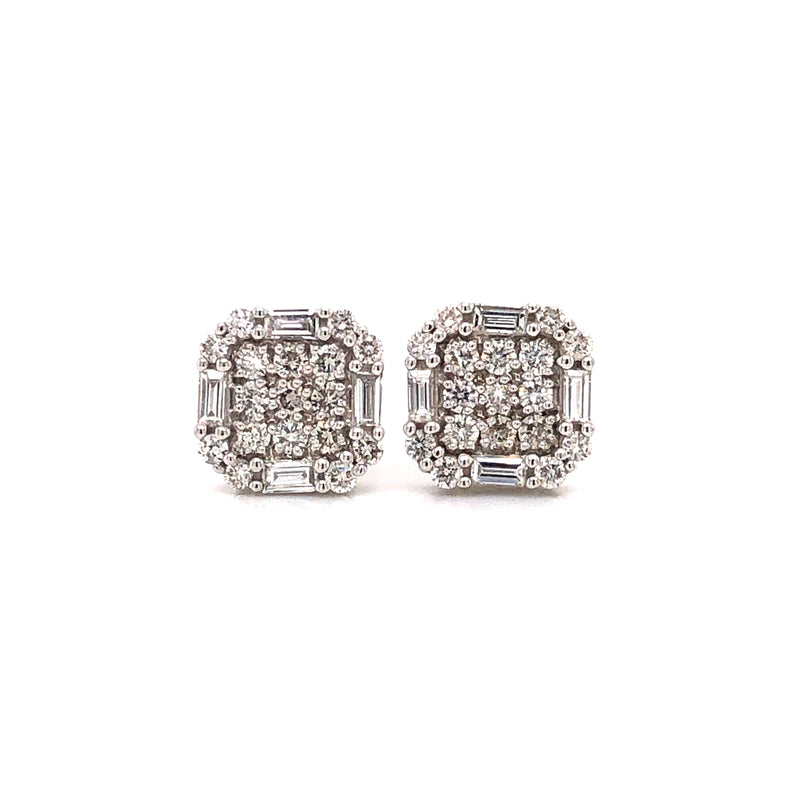 Smooth Edges Square Stud Earrings with Baguette Diamonds