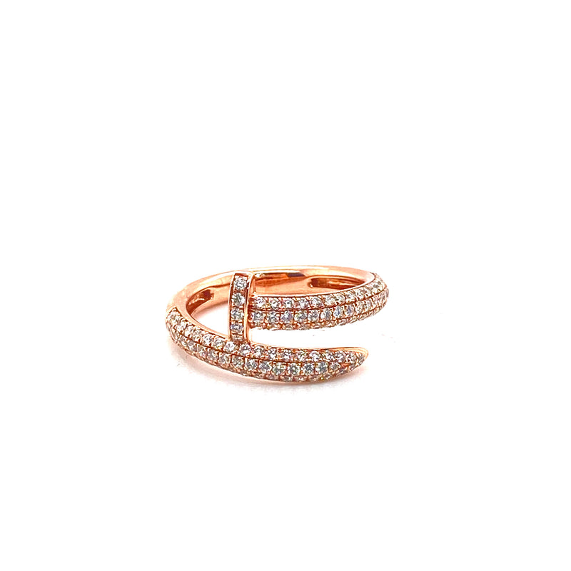 Nail Ring - Rose Gold & VS Diamonds Ring