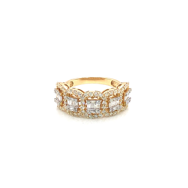 5 Big Rock Band Ring - Yellow Gold & VS Diamonds Ring