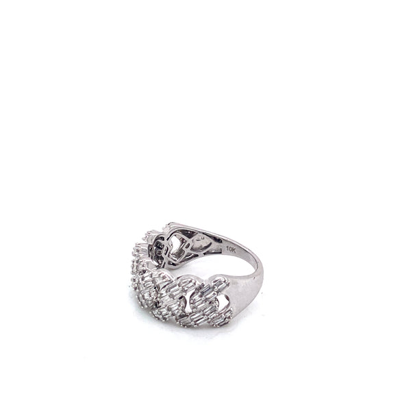 Small Baguette Cuban - White Gold & VS Diamonds Ring