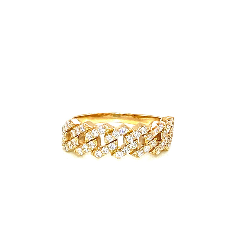 Small Miami Cuban Ring - Yellow Gold VS Diamonds Ring