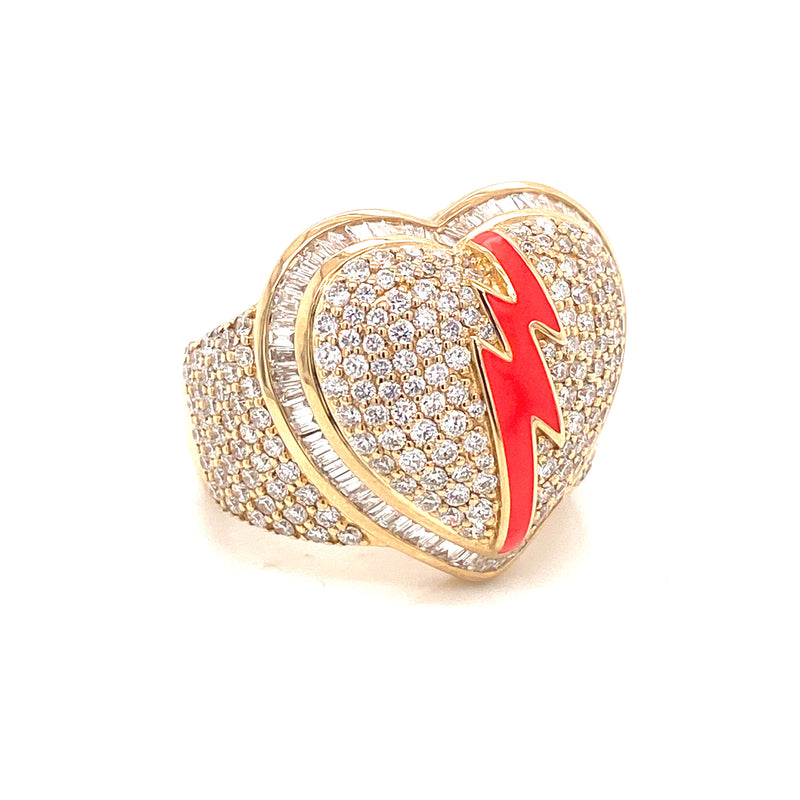 Broken Heart Ring - Yellow/White Gold & VS Diamonds