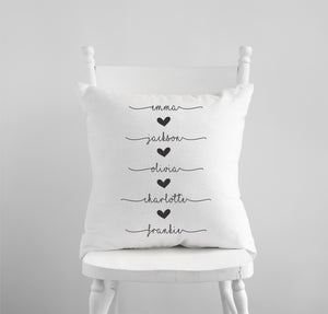 Personalized First Names Pillow Cover With Hearts