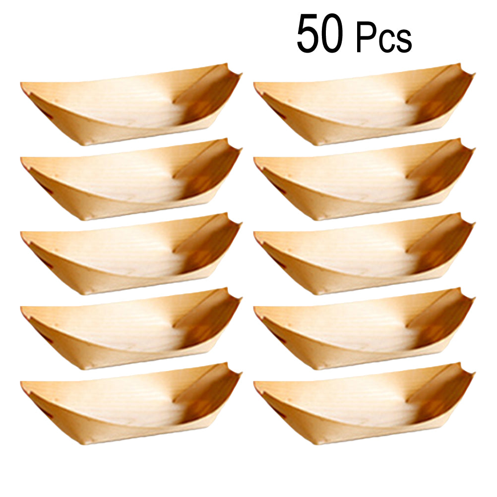 50 Pcs Food Tray Boat Shape Disposable